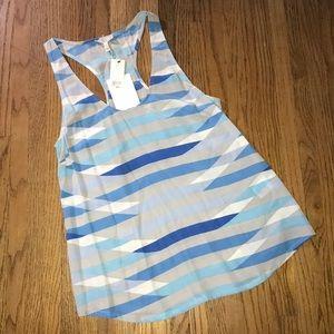 Joie Silk Racerback Tank NWT Blue White & Gray